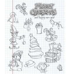 set christmas and new year festive items and vector image