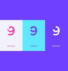 set number 9 minimal logo icon design template vector image