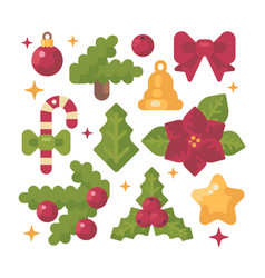 set of christmas items flat holiday decoration vector image