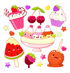 Set of cute sweet icons in kawaii style vector
