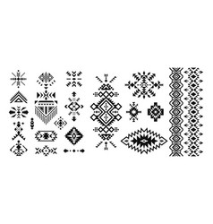 set of decorative ethnic elements isolated on vector image