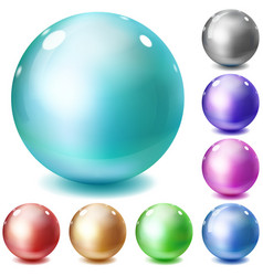 Set of multicolored glossy spheres vector image