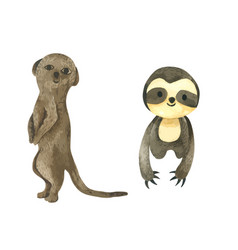 Slot and meerkat cartoon watercolor paint vector