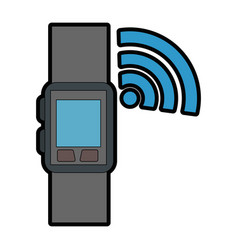 smart watch with wifi signal vector image