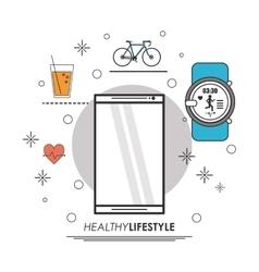 Smartphone watch juice bike icon Healthy vector