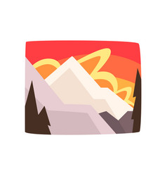 Snowy rocky mountains at sunset beautiful winter vector
