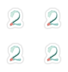 Stiker Abstract number 2 logo icon in Blue vector
