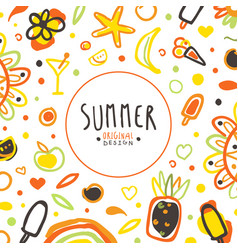 summer banner template with holiday symbols vector image