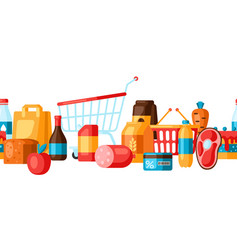 supermarket seamless pattern with food icons vector image