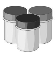 Three jars with gouache icon monochrome vector