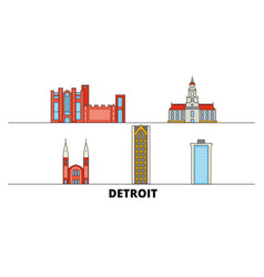 united states detroit flat landmarks vector image