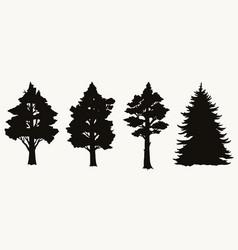 vintage trees black silhouettes set vector image