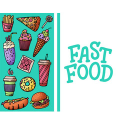 vintage with fast food doodle vector image