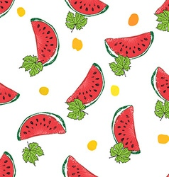 Water Melon Hand drawn Seamless Pattern vector