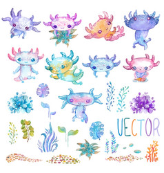 watercolor cute axolotl characters vector image