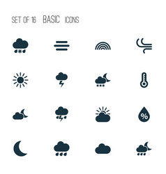 Weather icons set collection of breeze haze wet vector