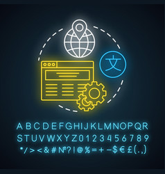 Website localization neon light concept icon vector