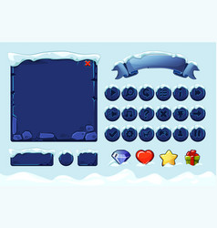 winter game ui stones buttons with snow vector image