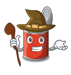 Witch canned food on the table cartoon vector