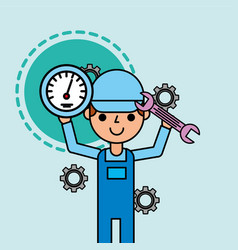 worker holding speedometer and wrench tools car vector image