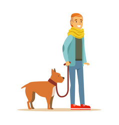 Young man holding a dog on a leash colorful vector