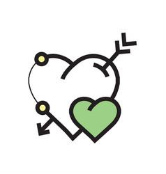 arrow on heart icon green vector image vector image