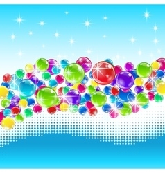 Christmas balls with snowy wave vector image