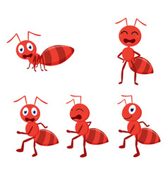 cute ant cartoon cartoon collection set vector image vector image