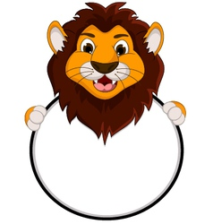 cute lion cartoon holding blank sign vector image vector image