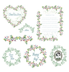 Floral set of design elements and frames for the vector image