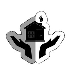 hands human with home ecology isolated icon vector image