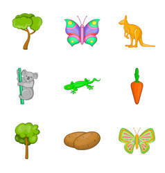 Hidden life icons set cartoon style vector