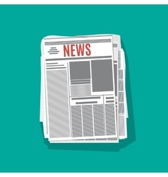 newspaper stack icon in flat design vector image