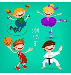 Set of sportive kids vector image vector image