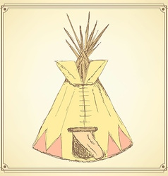 Sketch teepee house in vintage style vector image vector image