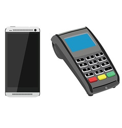 Smartphone and pos vector image vector image