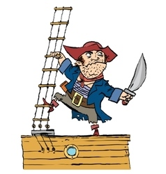 Brave pirate is on Board the ship vector image vector image