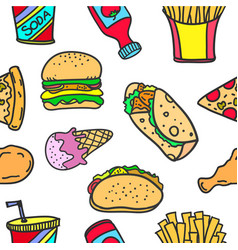 food object style of doodles vector image
