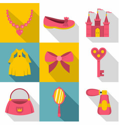 little princess icon set flat style vector image