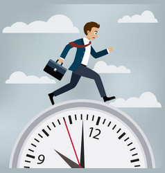 man in suit runs to work vector image vector image