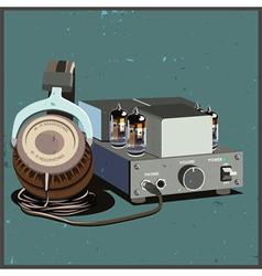 retro headphones and amplifier vector image