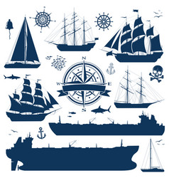 Set of sailing ships yachts and tankers vector