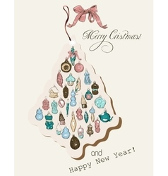 Vintage Christmas card pastel colors vector image vector image