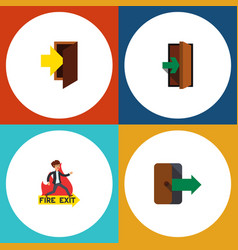 flat icon exit set of emergency entry vector image vector image