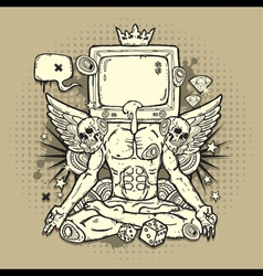 Grunge Design with TV vector image vector image
