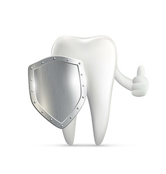 human tooth holding metal shield vector image vector image