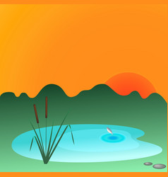 Reesd and lake vector image vector image