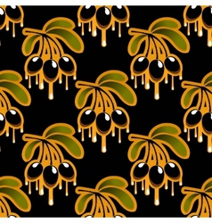 Seamless background pattern of olive oil dripping vector image vector image