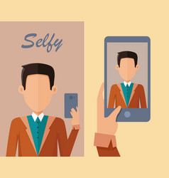 young man making selfie vector image