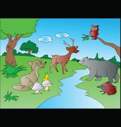 animals at jungle vector image